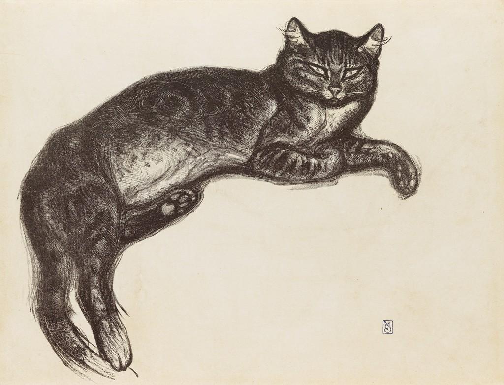 Lot 134: Thóphile Steinlen, L'Hiver, chat sur un coussin, lithograph, 1909. Estimate $4,000 to $6,000.
