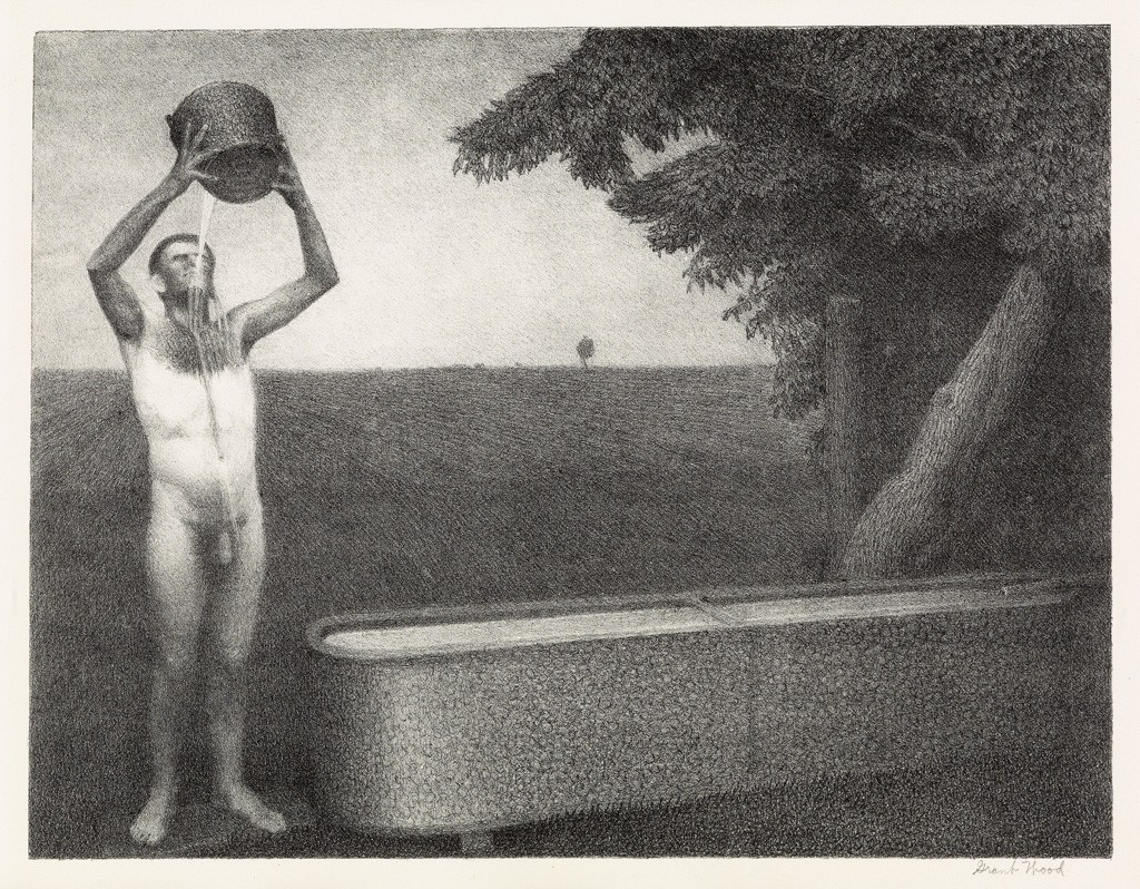 Grant Wood, Sultry Night, lithograph, American Prints