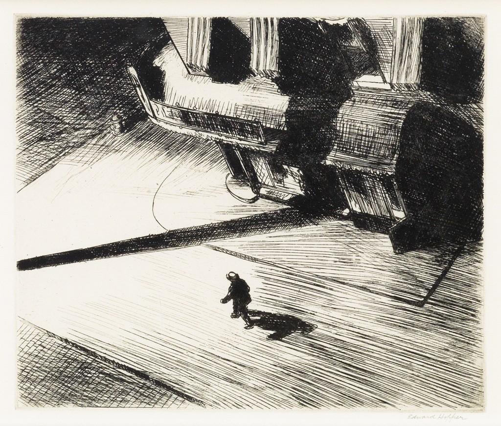 Edward Hopper, Night Shadows, etching, American Prints