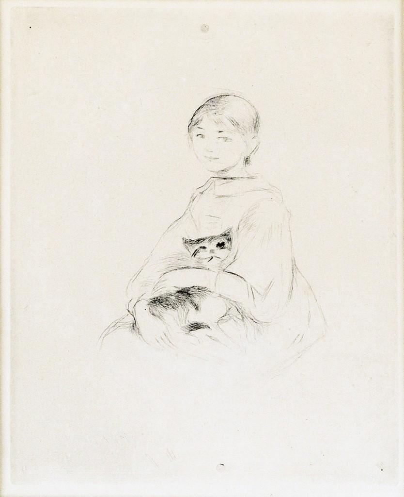 Lot 82: Berthe Morisot, Fillette au Chat (Julie Manet), drypoint, 1889, sold with Nu de dos, drypoint, 1889. Estimate $1,000 to $1,500.