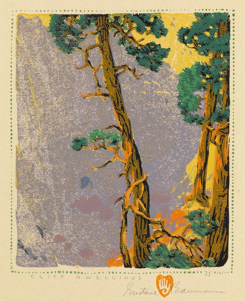 Gustave Baumann, Cliff Dwellings, color woodcut, American Prints