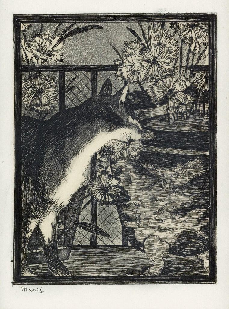 Lot 54: Édouard Manet, Le Chat et les Fleurs, etching and aquatint, 1869. Estimate $1,000 to $1,500.