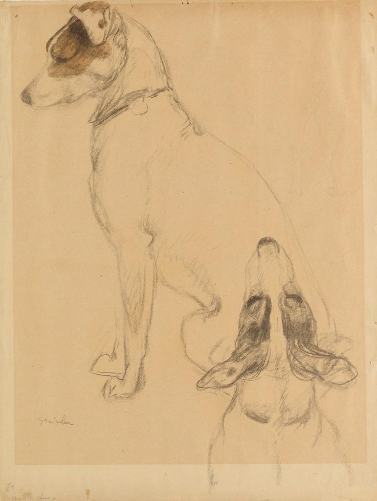 Lot 138: Théophile Steinlen, Deux Chiens, pencil and watercolor. Estimate $3,000 to $5,000.