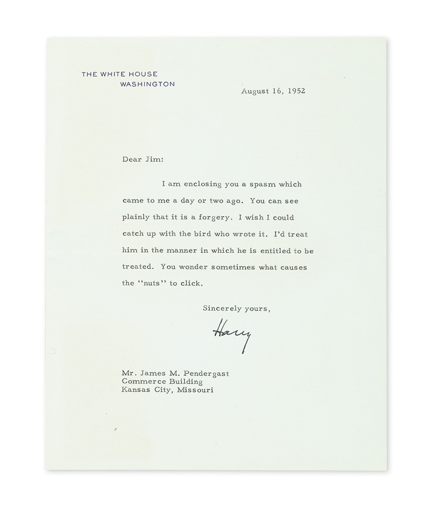 "Harry S. Truman, Typed Letter Signed ""Harry"" as President, to James M. Pendergast"