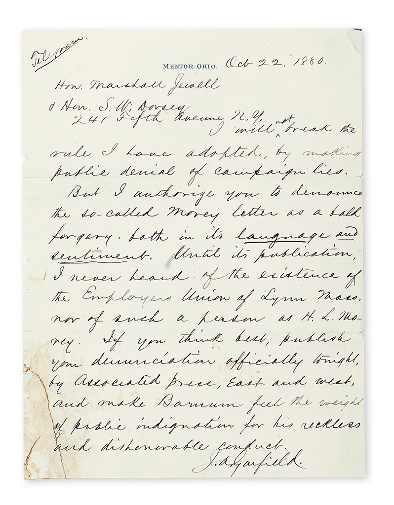 "James A. Garfield, Two Autograph Letters Signed, ""J.A. Garfield,"""