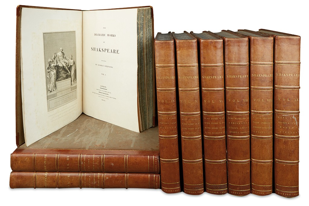 William Shakespeare, The Dramatic Works, 9 volumes with 96 copper engravings, published by John and Josiah Boydell, London, 1802.
