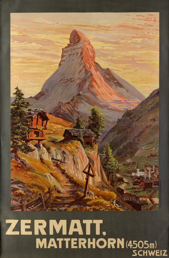Lot 482: Francois Gos, Zermatt / Matterhorn, 1904. Sold August 3, 2016, for $5,750, a record for the poster.