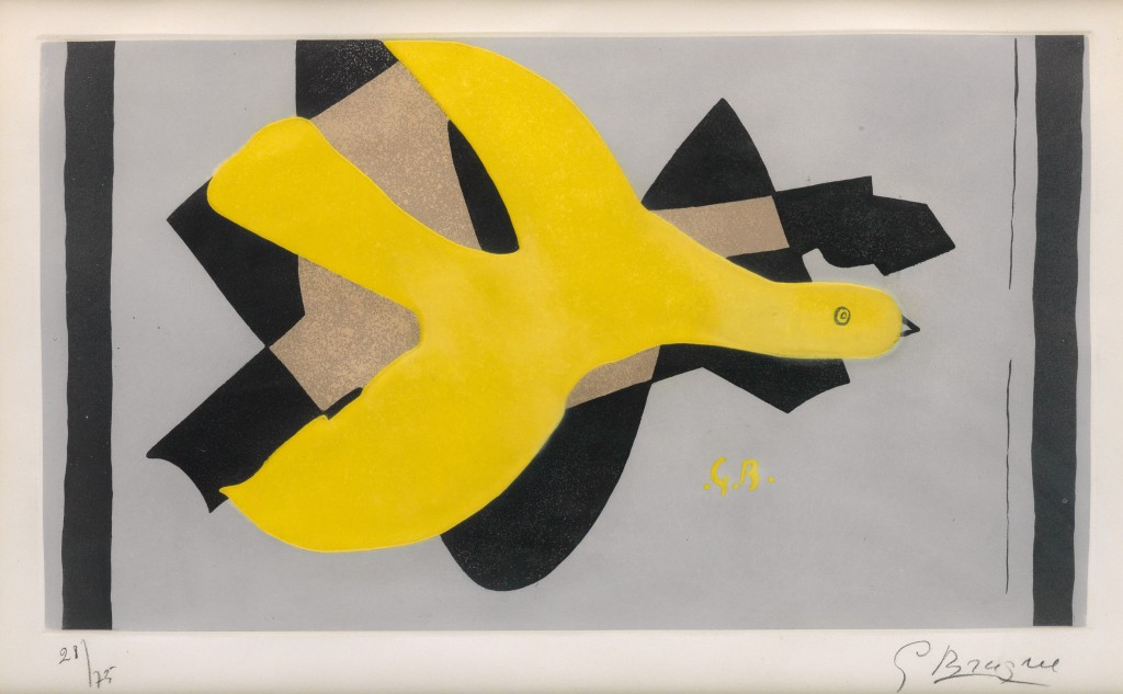 Georges Braque, L'Oiseau et son ombre III, color aquatint and etching, 1961. Estimate $10,000 to $15,000.