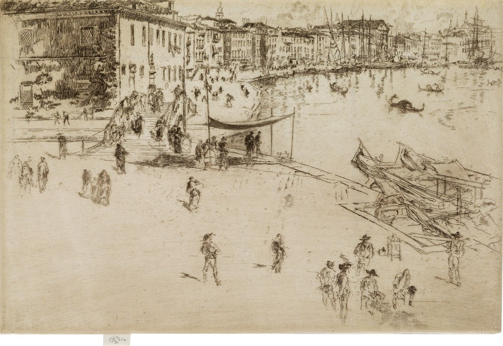 (36) James A.M. Whistler,Riva, No.2, etching, 1879-80. Estimated $10,000 to $15,000.