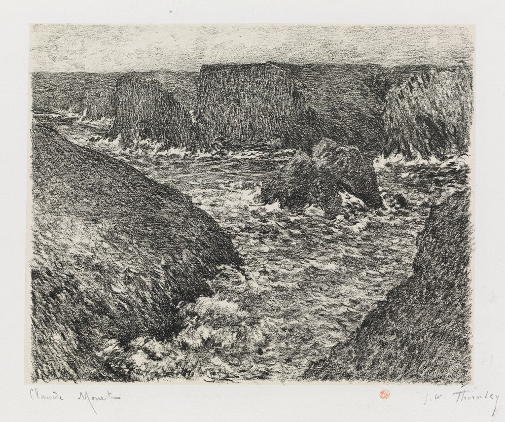 (76) Claude Monet and George W. Thornley, La côte rocheuse, lithograph, before 1892. Estimate $15,000 to $20,000.