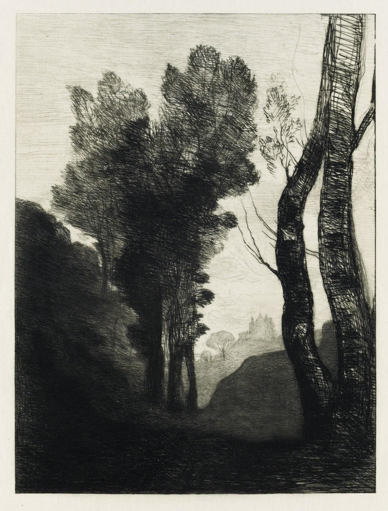(14) Jean-Baptiste-Camille Corot, Environs de Rome, etching, 1866. Estimate $1,500 to $2,500.
