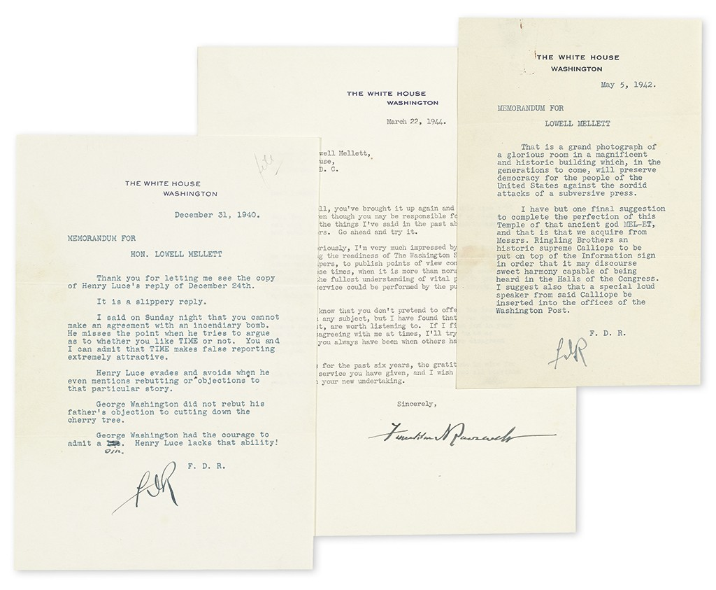 """Lot 175: Group of three Typed Letters Signed, """"FDR"""" or """"Franklin DRoosevelt,"""" as President, to journalist Lowell Mellett, concerning Henry R. Luce and other publishers, and personal topics. Estimate $3,500 to $5,000."""