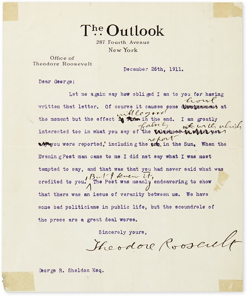 Lot 181: Group of three Typed Letters Signed, to Republican Party Treasurer George R. Sheldon, concerning accusations that Roosevelt requested that railroad executive E.H. Harriman contribute to his 1904 campaign. Estimate $1,000 to $1,500.