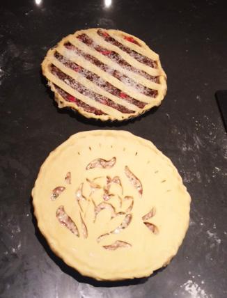 Pre-bake: The Kidder Pye at top and the Batali Pie below