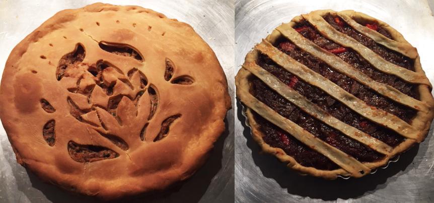 Left: twenty-first century pie; Right: eighteenth century pye