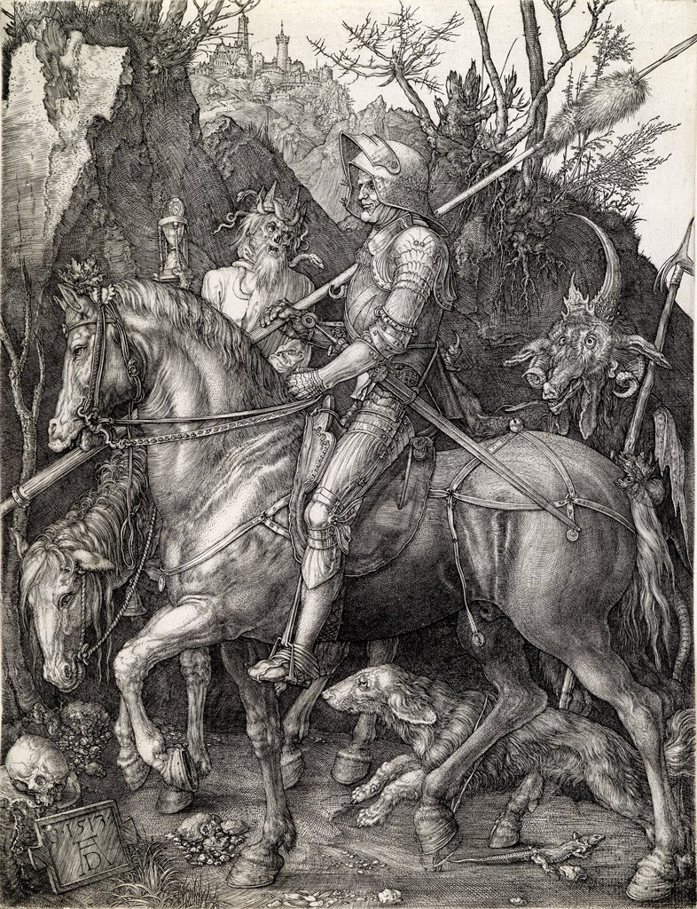 Lot 30: Albrecht Dürer, Knight, Death and The Devil, engraving, 1513. Sold for $65,000.