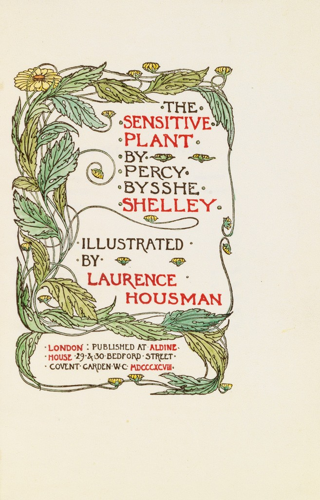 Lot 23: Percy Bysshe Shelley, The Sensitive Plant, hand-colored engraving on vellum, Guild of Women Bookbinders, London, 1898. Sold December 1, 2016 for $5,250.
