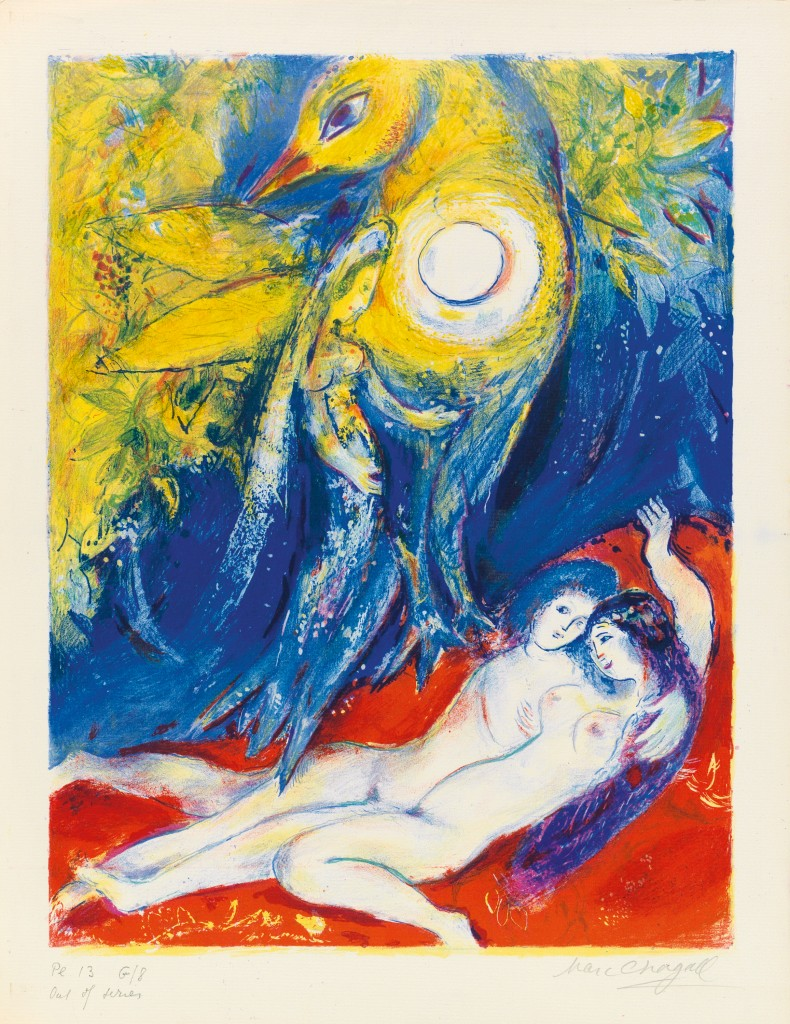 Marc Chagall, Four Tales from the Arabian Nights, complete deluxe edition of 13 color lithographs, New York, 1948. Estimate $250,000 to $350,000.