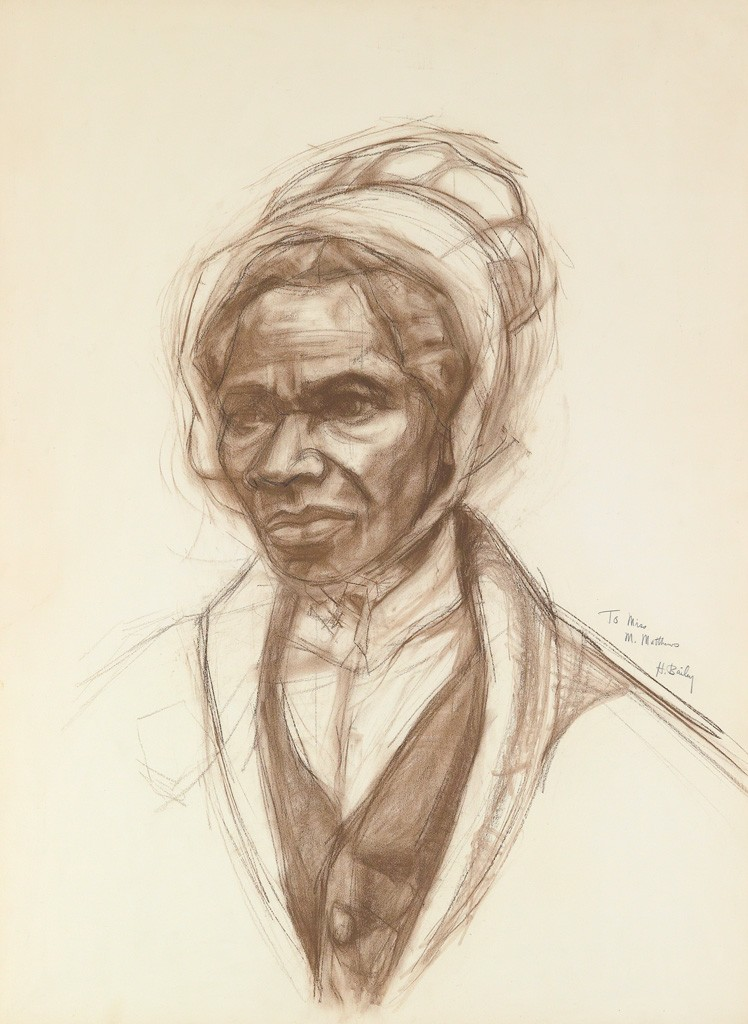 "Herman ""Kofi"" Bailey, Sojourner Truth, brown and black conté, circa 1970-75. Estimate $2,000 to $3,000."