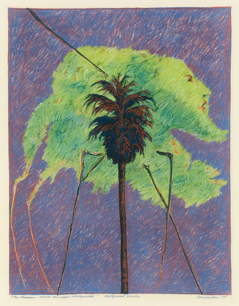 Lot 88: Dan Concholar, The Shaman Moves Through Hollywood (Hollywood Series), color pastel, 1977. Estimate $1,000 to $1,500.