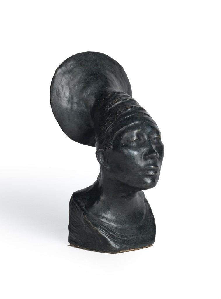 Lot 82: Beulah Woodard, Untitled (Bust of a Mangbetu Woman), cast bronze with black patina, 1937. Estimate $5,000 to $7,000.