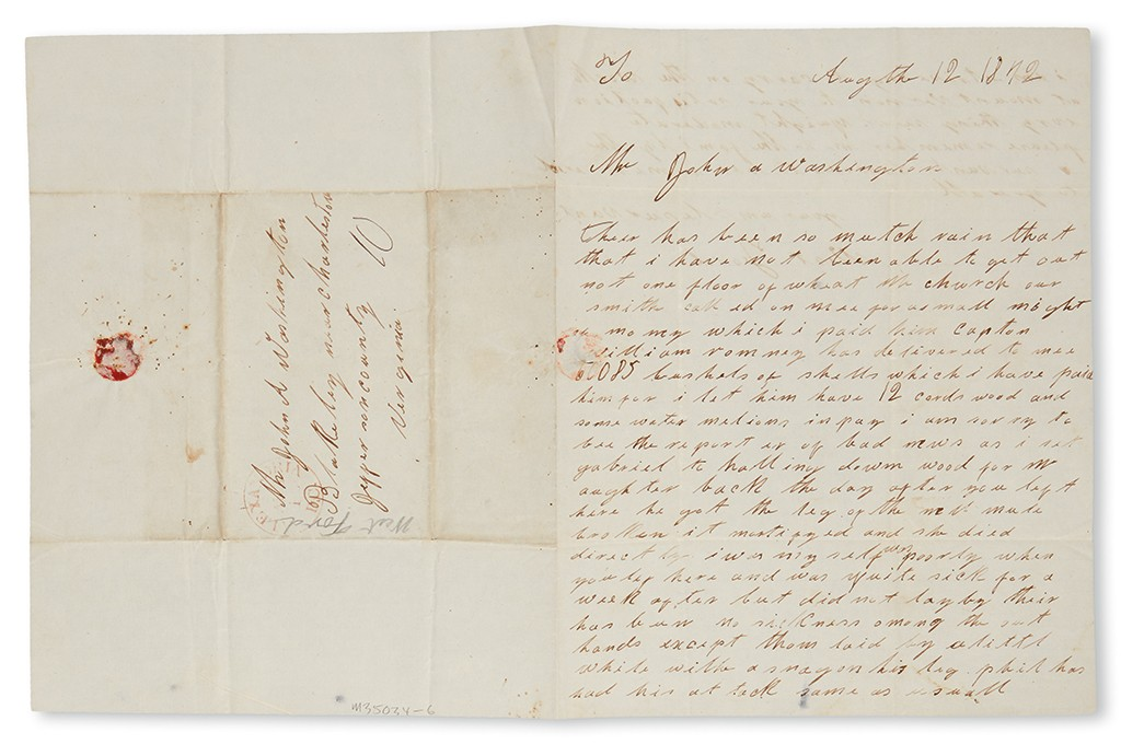 Lot 25: West Ford, Autograph Letter Signed to John Augustine Washington, III, discussing recent weather and events, August 12, 1842. Estimate $10,000 to $15,000.