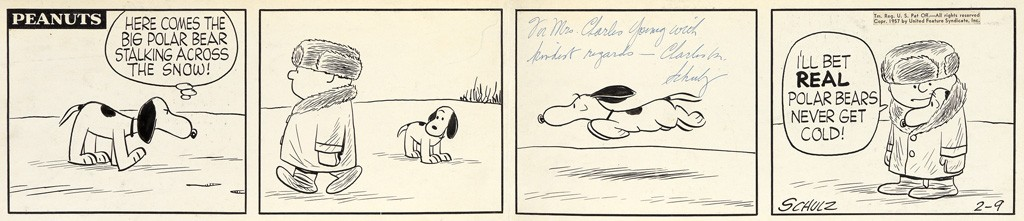 """Charles M. Schulz, """"Here comes the big polar bear stalking across the snow!"""", pen and ink, 1957. Sold March 21, 2017 for $12,500."""