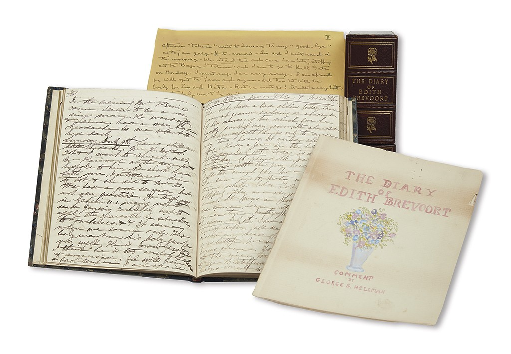 Lot 232: Edith Brevoort's journal and ephemera.