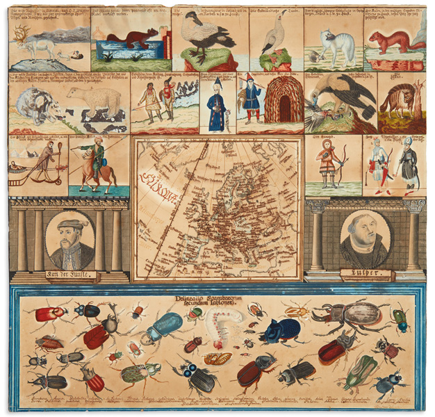 Lot 122: Odo Staab, Didactic manuscript map of Europe, ink & watercolor, Germany, 1813. Estimate $800 to $1,200.