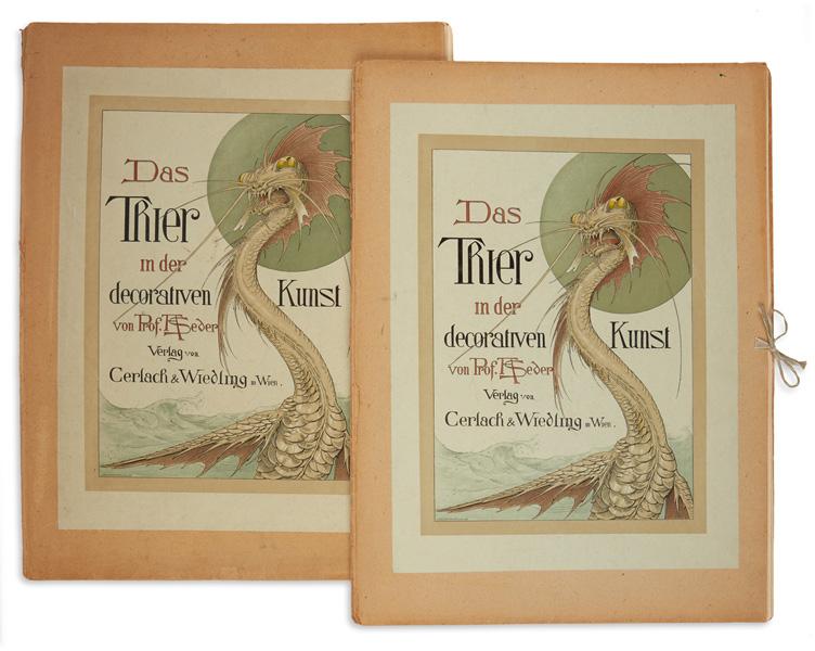 Lot 311: Anton Seder, Das Trier in der Decorativen Kunst, portfolio of 29 lithographs, Vienna, 1896-1903. Estimate $2,000 to $3,000.
