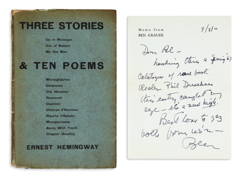 Lot 145, Ernest Hemingway's first book Three Stories & Ten Poems, cover with inscription page