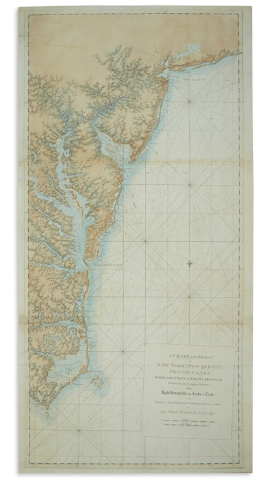 Lot 58: Joseph Frederick Wallet Des Barres, A Chart of the Coast, from the Atlantic Neptune, London, 1780. Estimate $18,000 to $22,000.