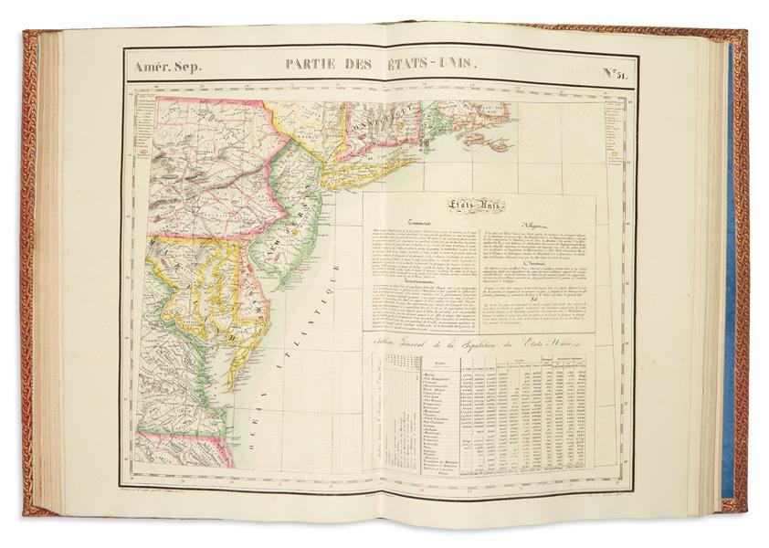 Lot 265: Philippe Vandermaelen, Atlas Universel de Geographie Physique, Politique, Statistique et Mineralogique, first atlas to use lithography, Brussels, 1827. Estimate $6,000 to $9,000.