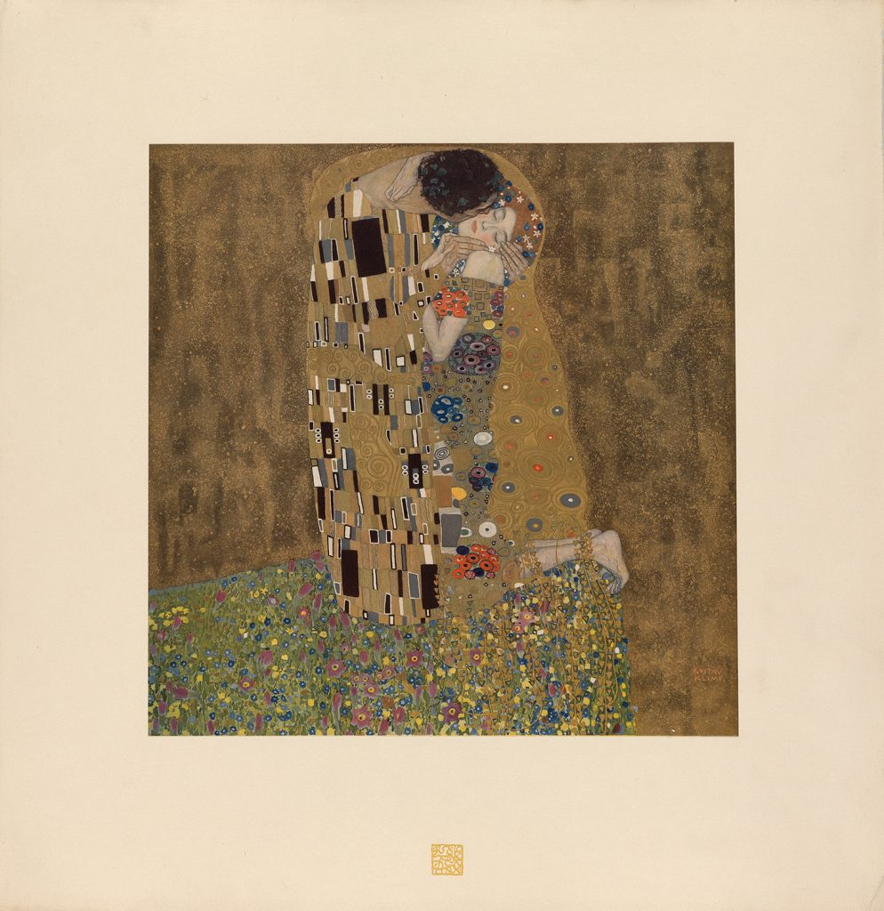 Gustav Klimt's The Kiss from his Das Werk von Gustav Klimt. A man kiss a woman on the cheek.