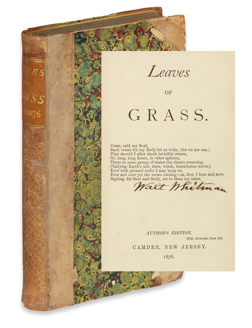 Lot 278, cover and title page with signature of Walt Whitman's Leaves of Grass