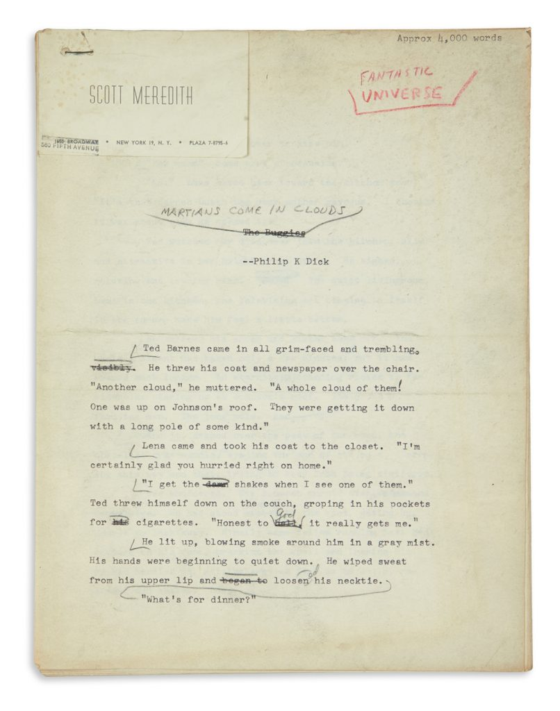 Lot 80, Philip K. Dick typescript with corrections.