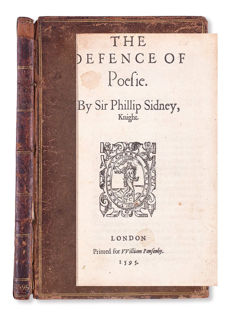 Sir Philip Sidney's book The Defense of Poesie shown with the outer over and title page.