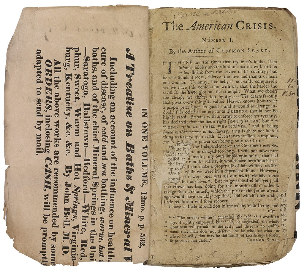 Double page spread of The American Crisis by Thomas Paine