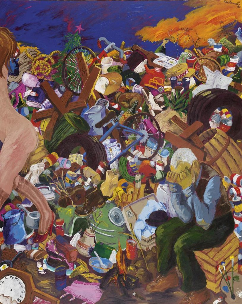 A colorful painting of a man with his head in his hands sitting in a large pile of trash with a female figure retreating by Robert Colescott.