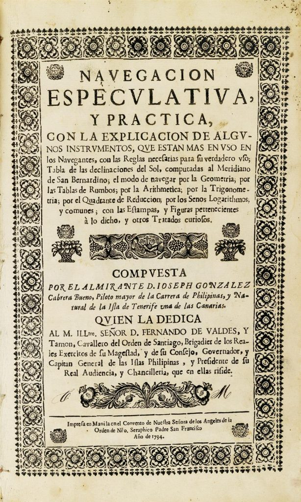 Title page of José González Cabrera Bueno's book the first navigation manual printed in the Philippines. Written in Spanish.