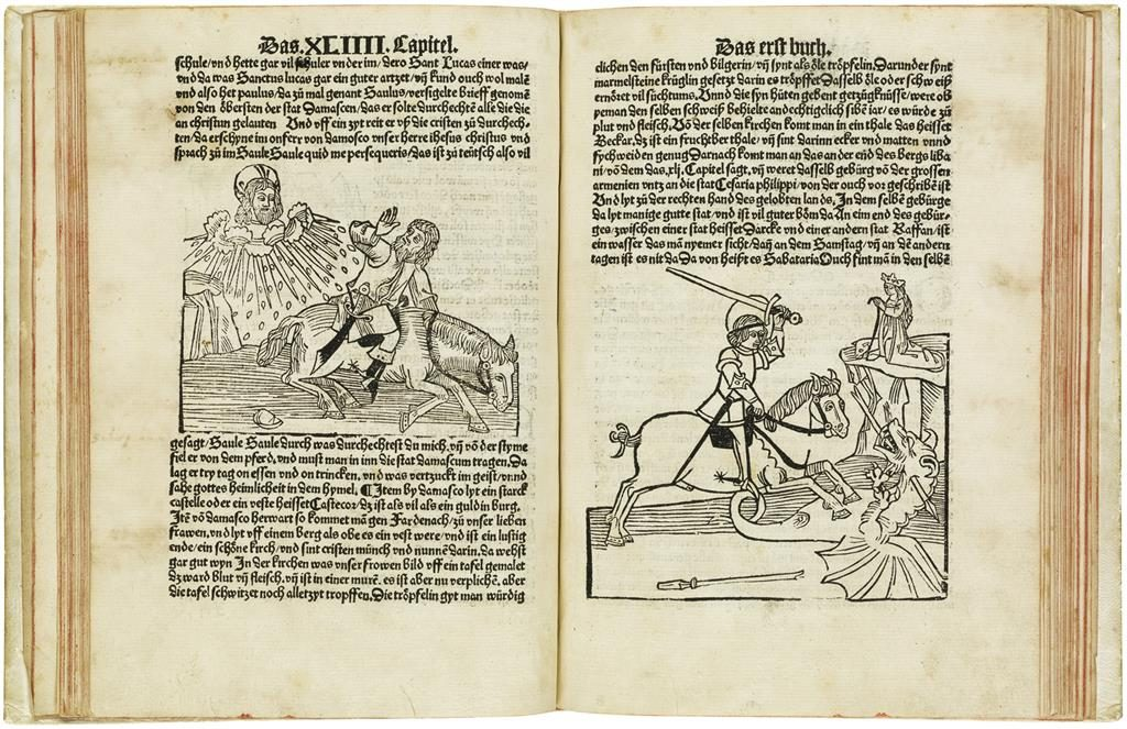 A double page spread from Jean de Mandeville's Reysen und Wanderschafften durch das Gelobte Land with illustrations of a god-like figure aiming swords at a man on a horse, and a knight slaying a dragon to rescue a princess.