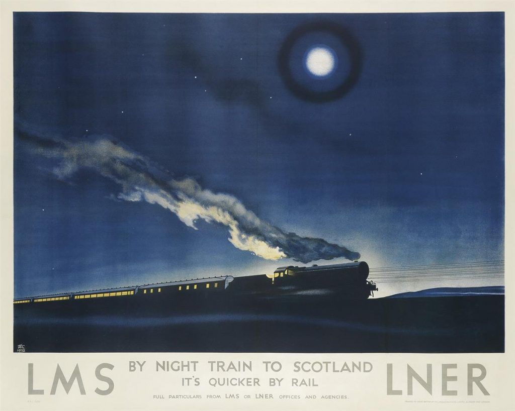 A poster of a passenger train chugging along through the night.