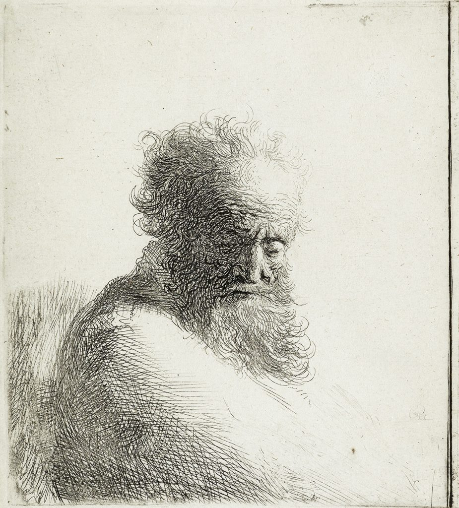 Etching of an old man looking down by Rembrandt van Rijn.