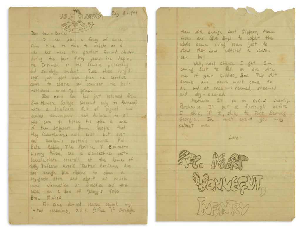 A handwritten letter from Kurt Vonnegut to his brother with a satirical doodle of an eagle on the letter head and signed PFC. Kurt Vonnegut, Infantry in bubble letters.