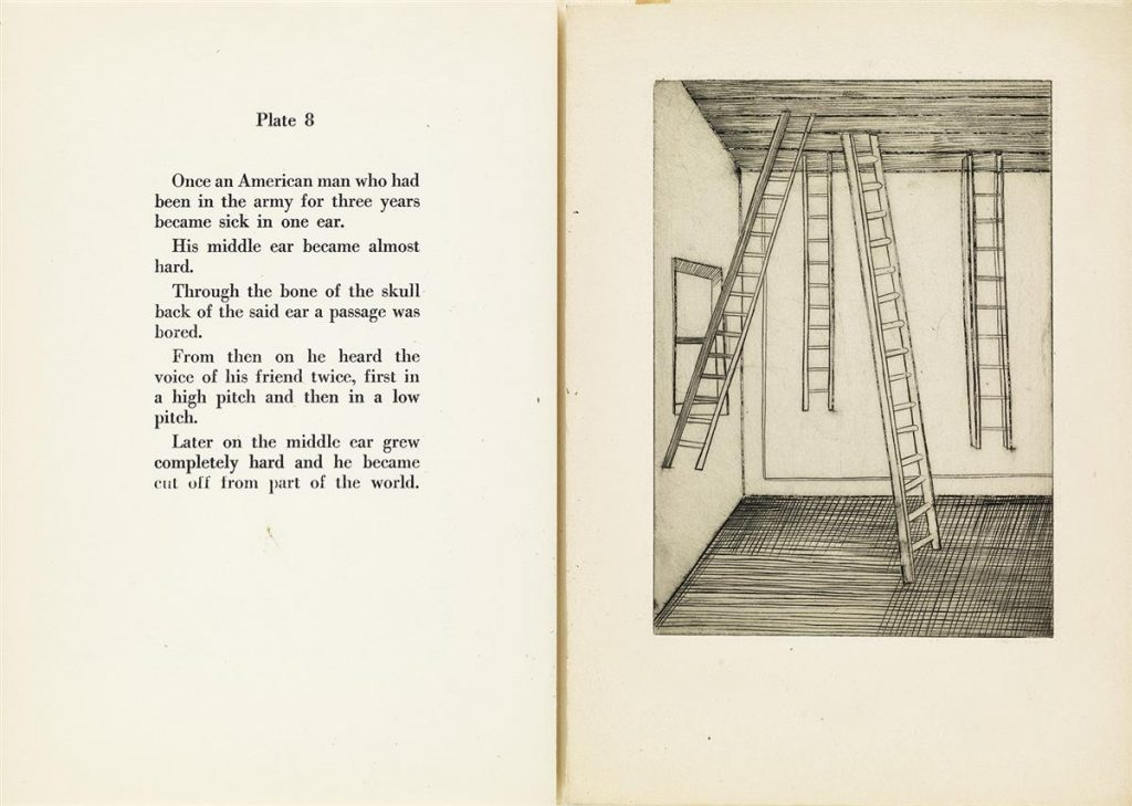 "Plate 8 spread from Louise Bourgeois artist book ""He Disappeared Into Complete Silence"" with the left side featuring Bourgeois' text and the right side featuring her surrealist illustration with floating ladders."