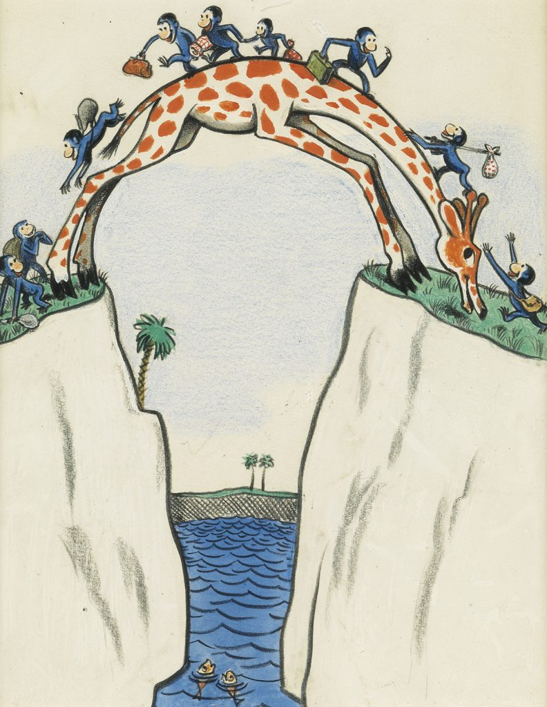 An illustration from H.A. Rey's book Cecily G. and the 9 Monkeys which features the 9 monkeys using Cecily the giraffe as a bridge to get from one side of the water to the other.