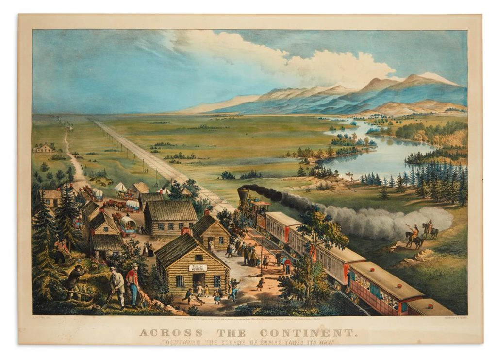 A Currier & Ives lithograph depicting the changing landscape of the mid-nineteenth century American frontier upon the completion of the Transcontinental Railroads.