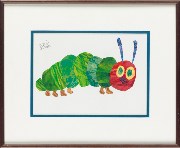 "Lot 14, a framed image of the caterpillar from ""The Very Hungry Caterpillar"" by Eric Carle"