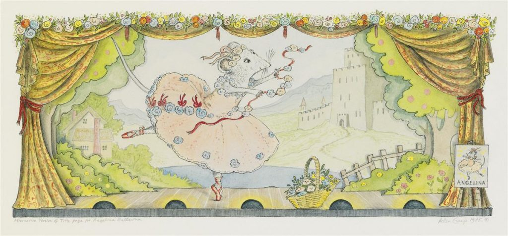 "Lot 17, the title page image by Helen Craig from ""Angelina Ballerina"" featuring the title character performing ballet on stage."