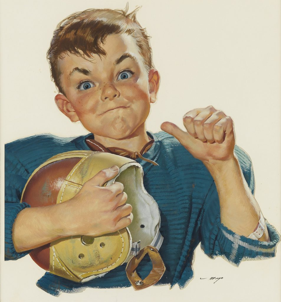 Lot 203, illustration by Mary Mayo featuring a young boy in a football uniform pointing at himself.